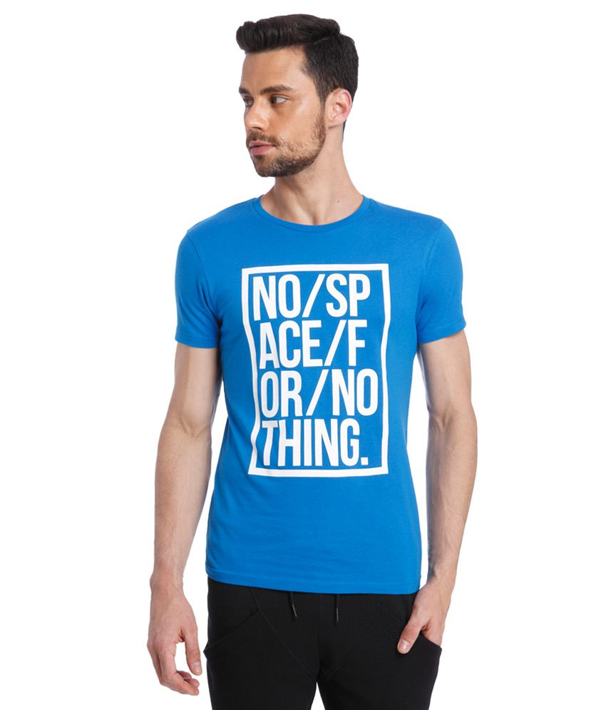 Jack & Jones Blue Round Neck Half Sleeves Printed T-Shirt
