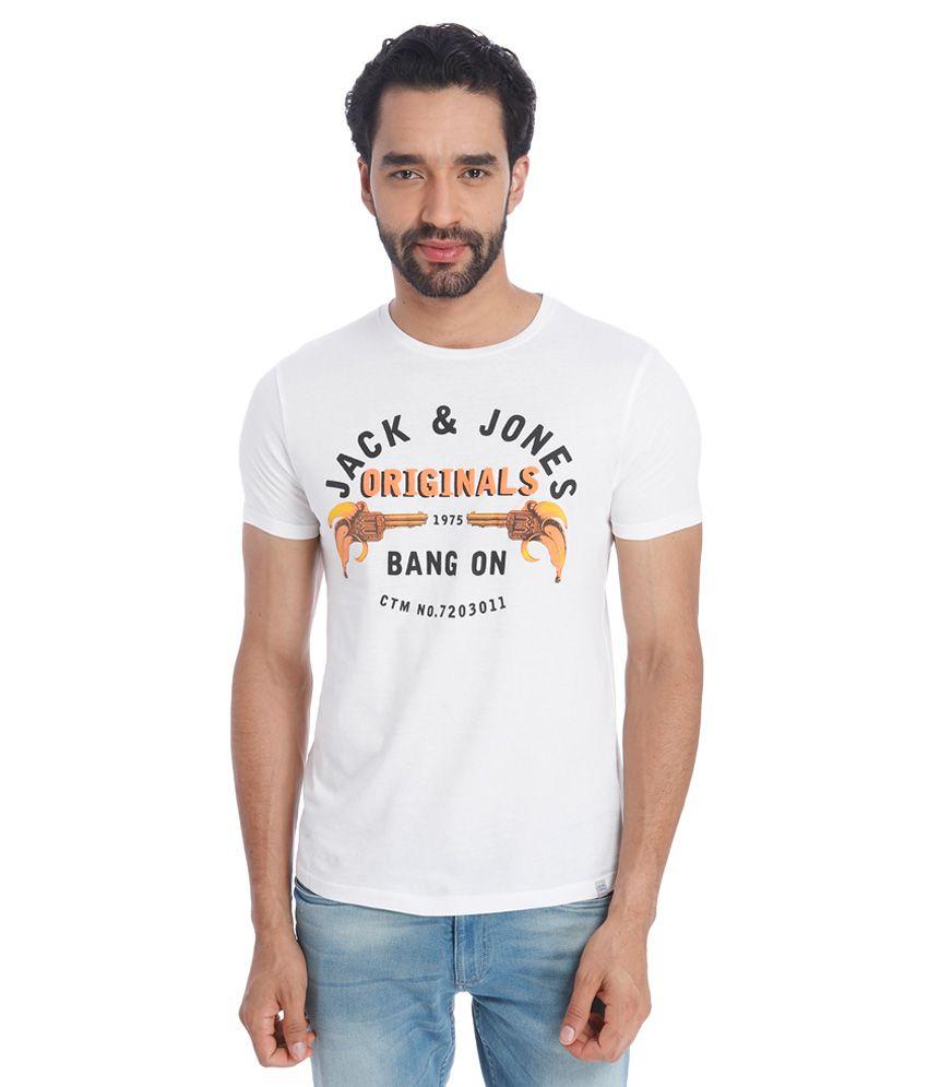 Jack & Jones White Round Neck Half Sleeves Printed T-Shirt