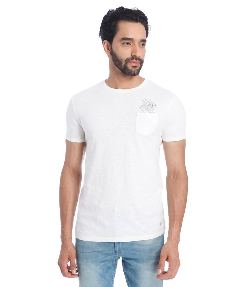 Jack & Jones White Round Neck Half Sleeves Sleeves Solids T-Shirt
