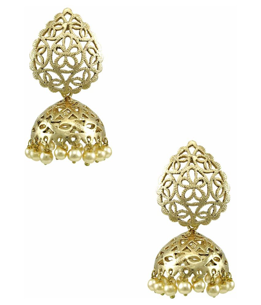 Orniza Brass Gold Plating kundan/Meenakari Studded Golden Coloured Earrings