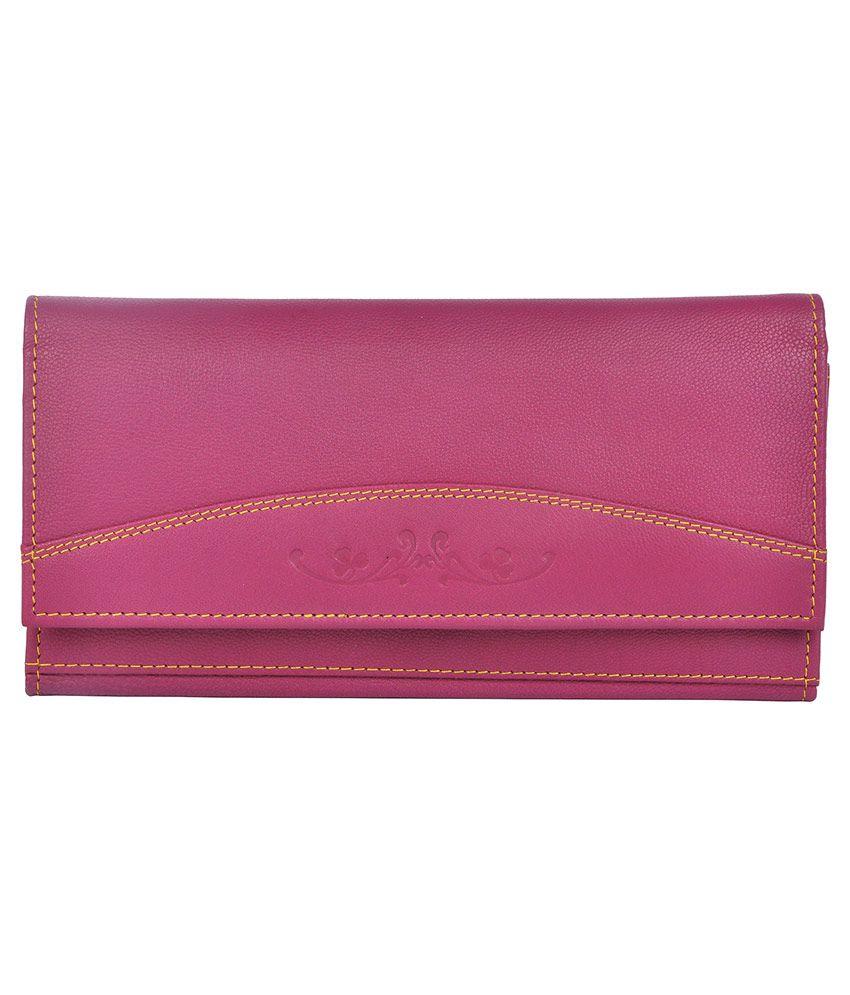 Bluwhale Pink Solid Bi Fold Wallet