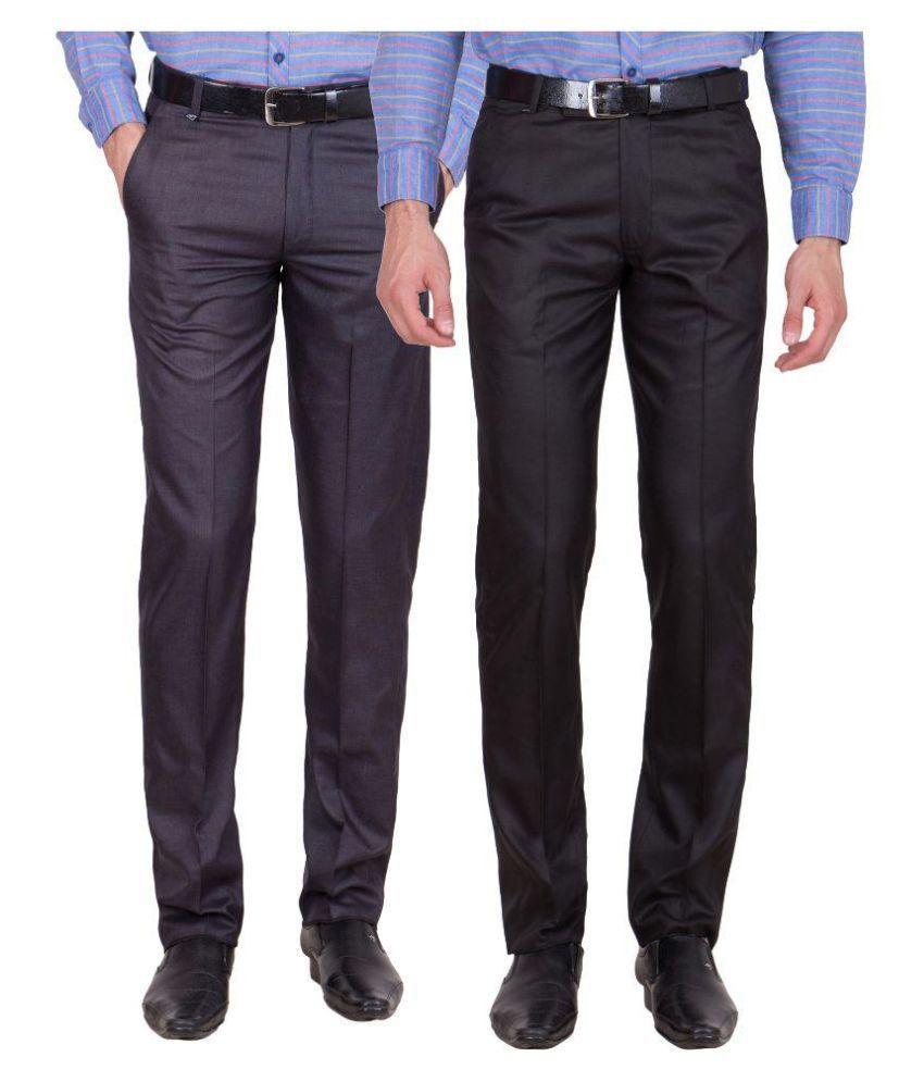 Tiger Grid Multi Slim Fit Flat Trousers - Pack of 2