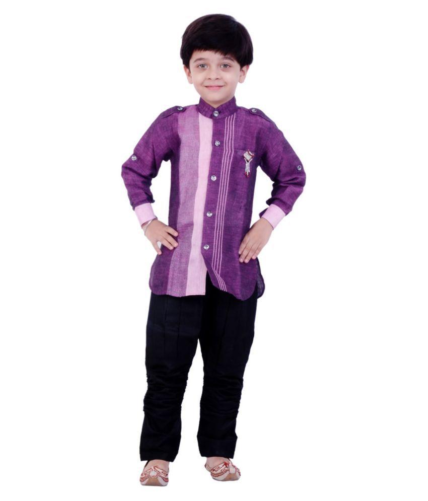 Arshia Fashions Multicolour Cotton Indo Western Suit