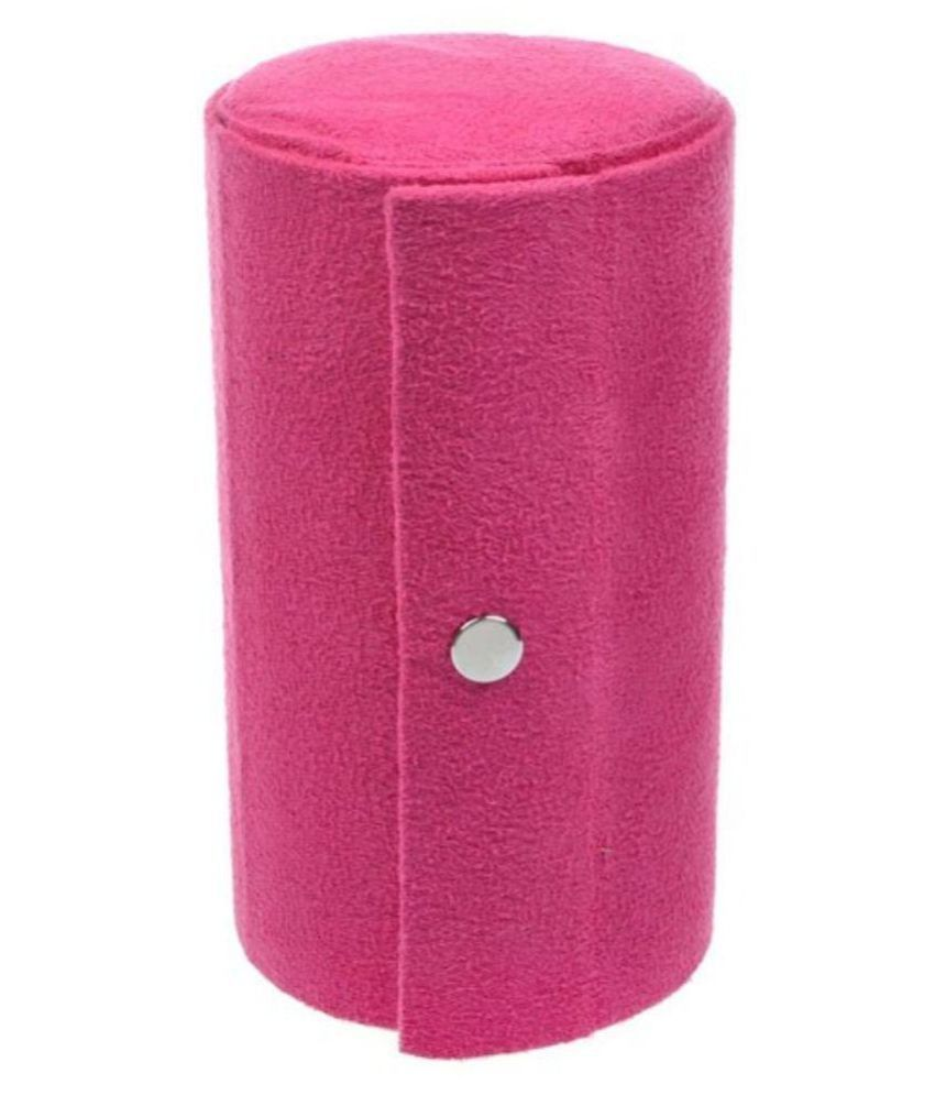 Genric 3 Tier Bundle Round Velvet Jewelry Display Stand Box Travel Roll Up Case Storage- Pink