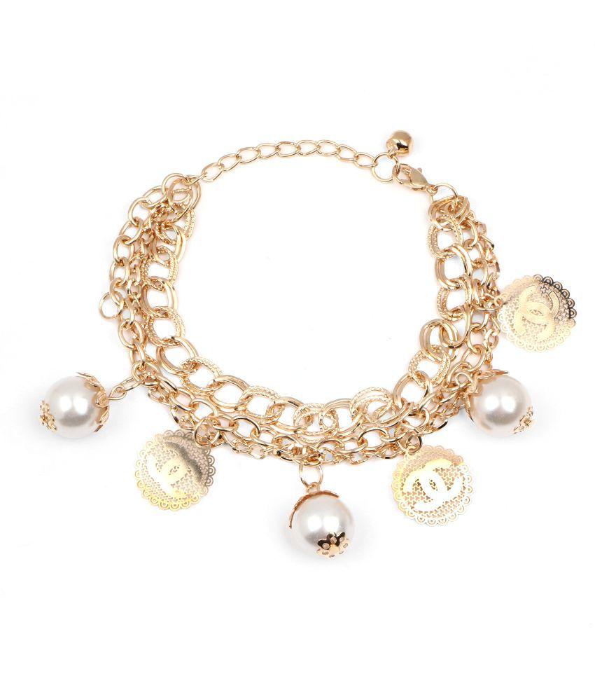 Johareez Alloy Gold Plating Pearls Studded White Coloured Bracelet