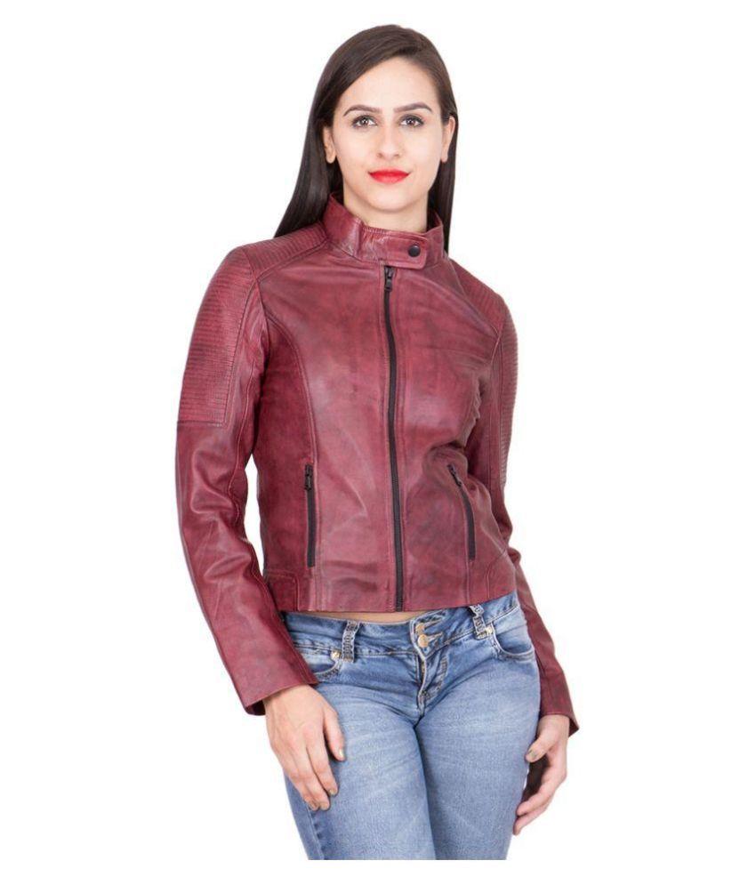 Justanned Red Biker Jacket For Girls