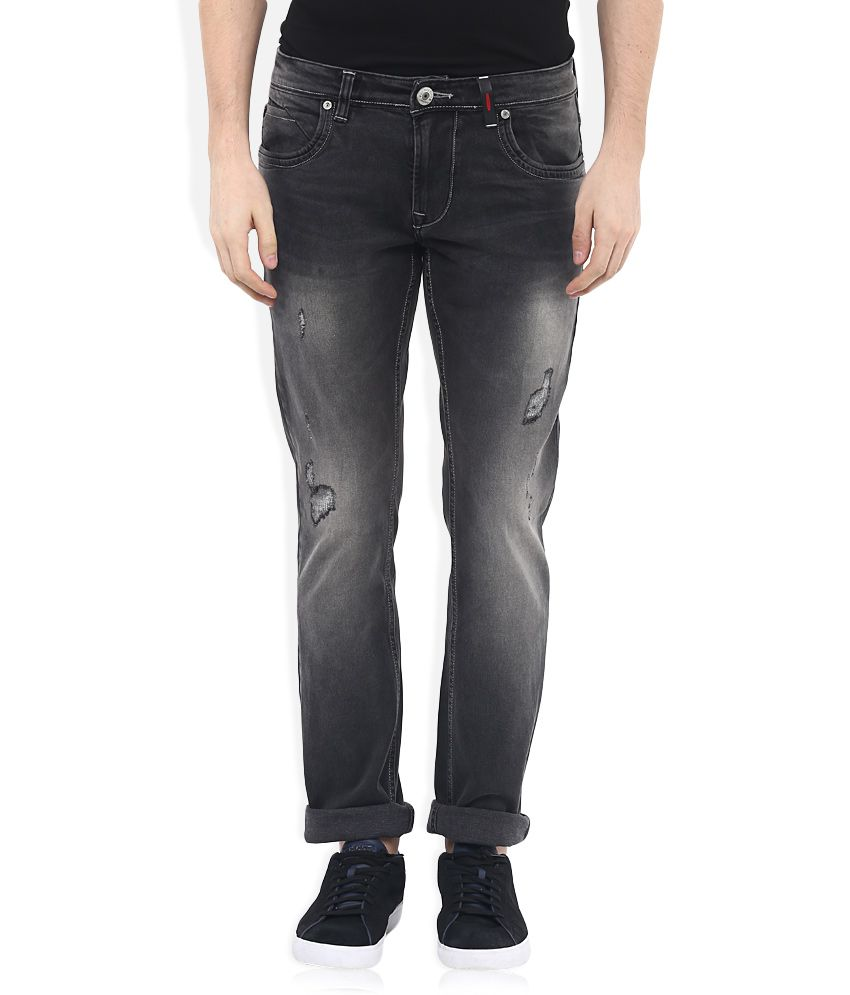 LAWMAN pg3 Black Slim Fit Faded Jeans