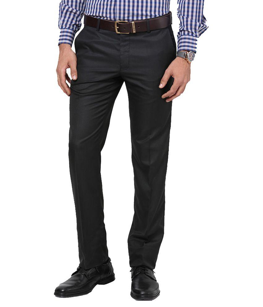 Lee Marc Black Regular Fit Flat Trousers