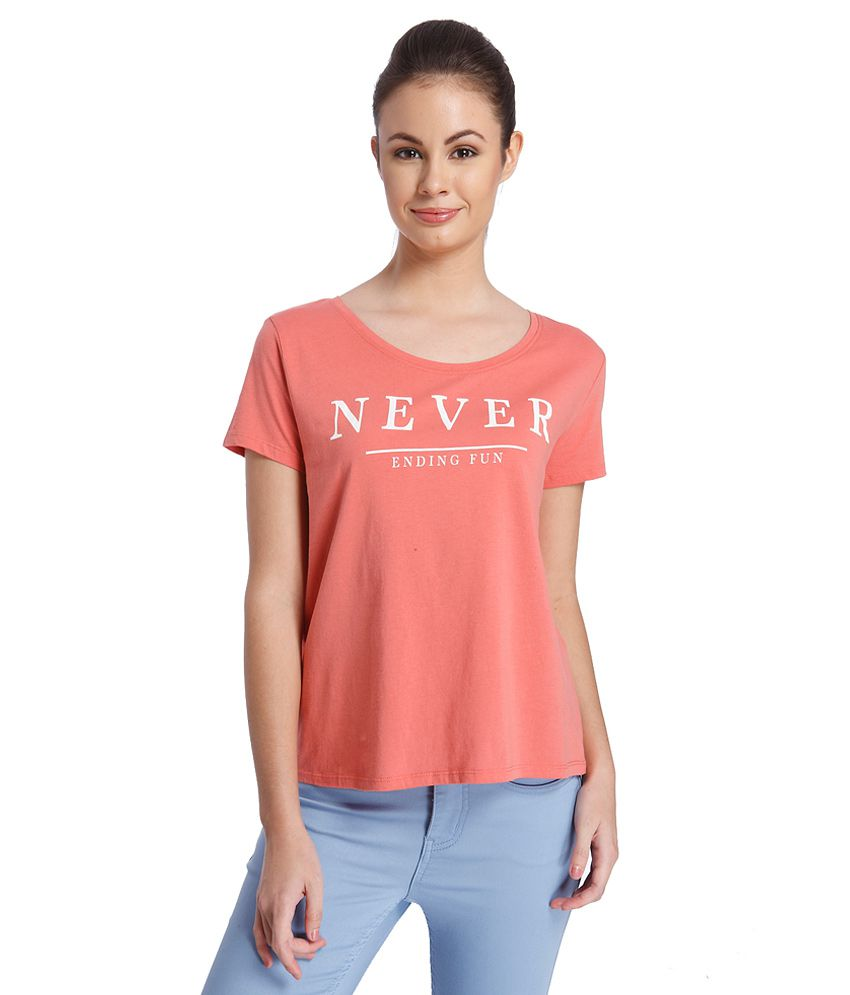 d53ce91e010 ONLY Pink Printed T Shirt available at SnapDeal for Rs.347