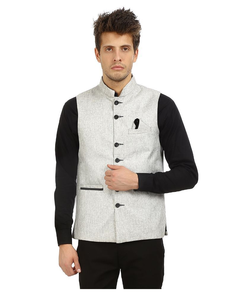 Zuricch Silver Casual Waistcoats