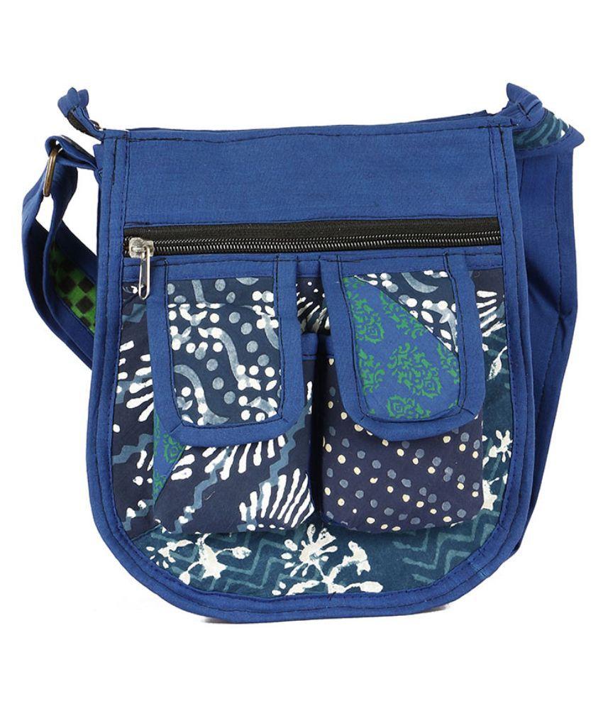 Cute Things Blue Fabric Sling Bag