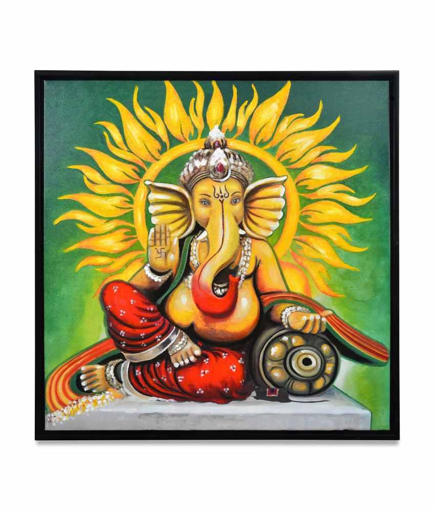 @Home by Nilkamal  Wood Ganpati Virajman Religious Paintings