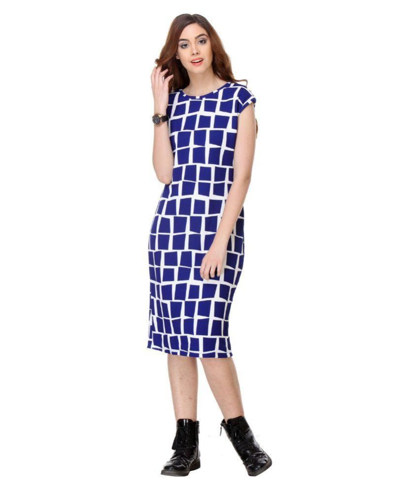be454929ba2d Shopostay Blue Cotton Midi Dress - Buy Shopostay Blue Cotton Midi Dress  Online at Best Prices in India on Snapdeal