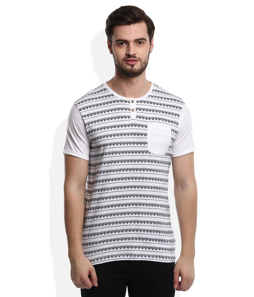 Voi Jeans White Henley Neck T Shirt