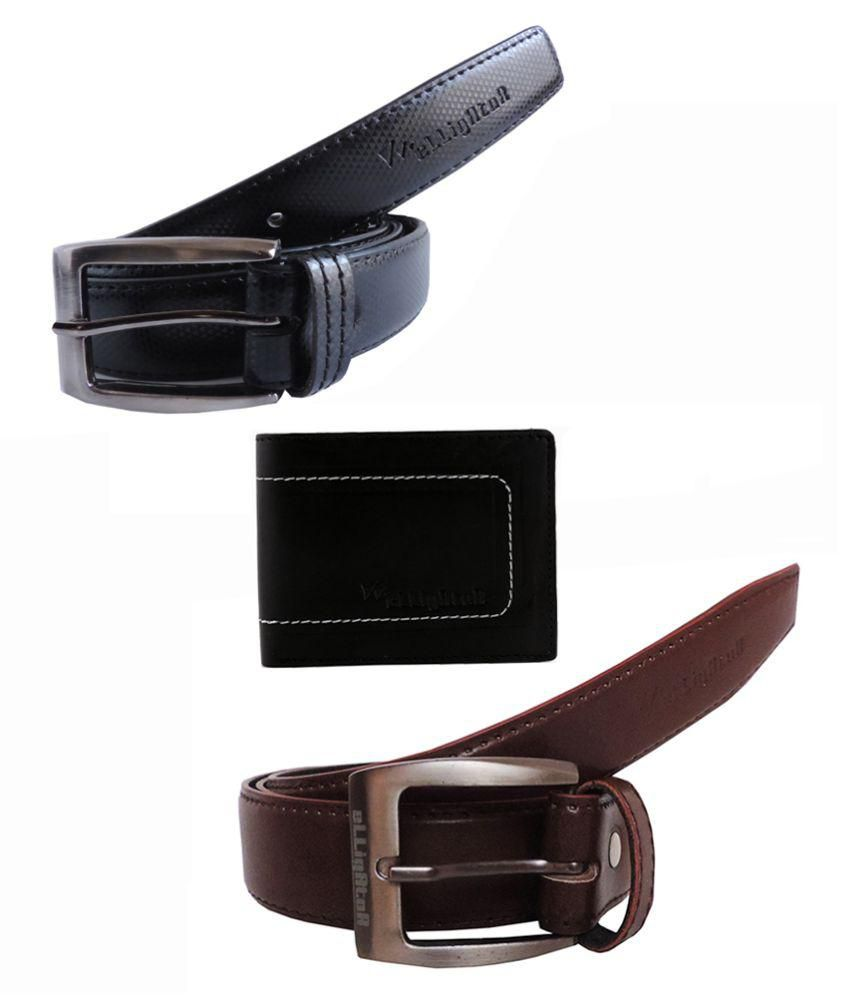 Elligator Multicolor Non Leather Belt & Wallet Combo