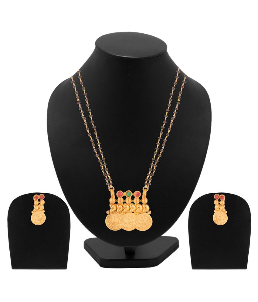 Voylla Alloy Gold Plating Crystal Studded Gold Coloured Mangalsutra Set