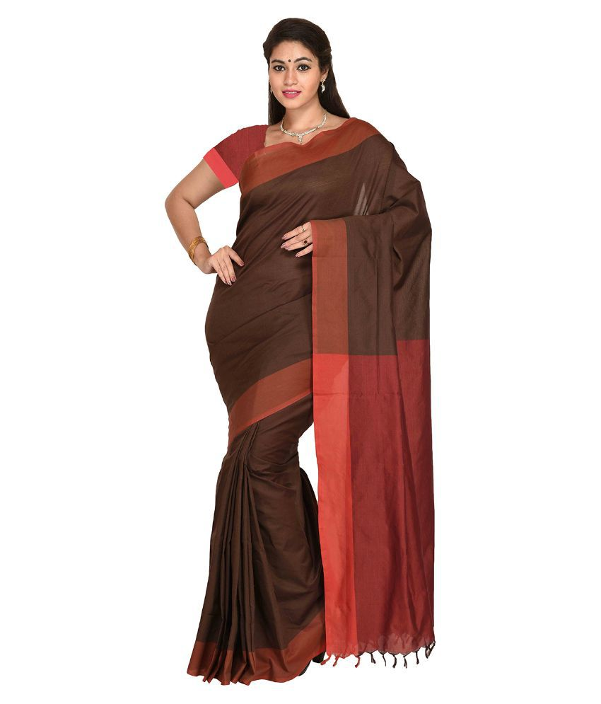 Anusha Brown Cotton Saree