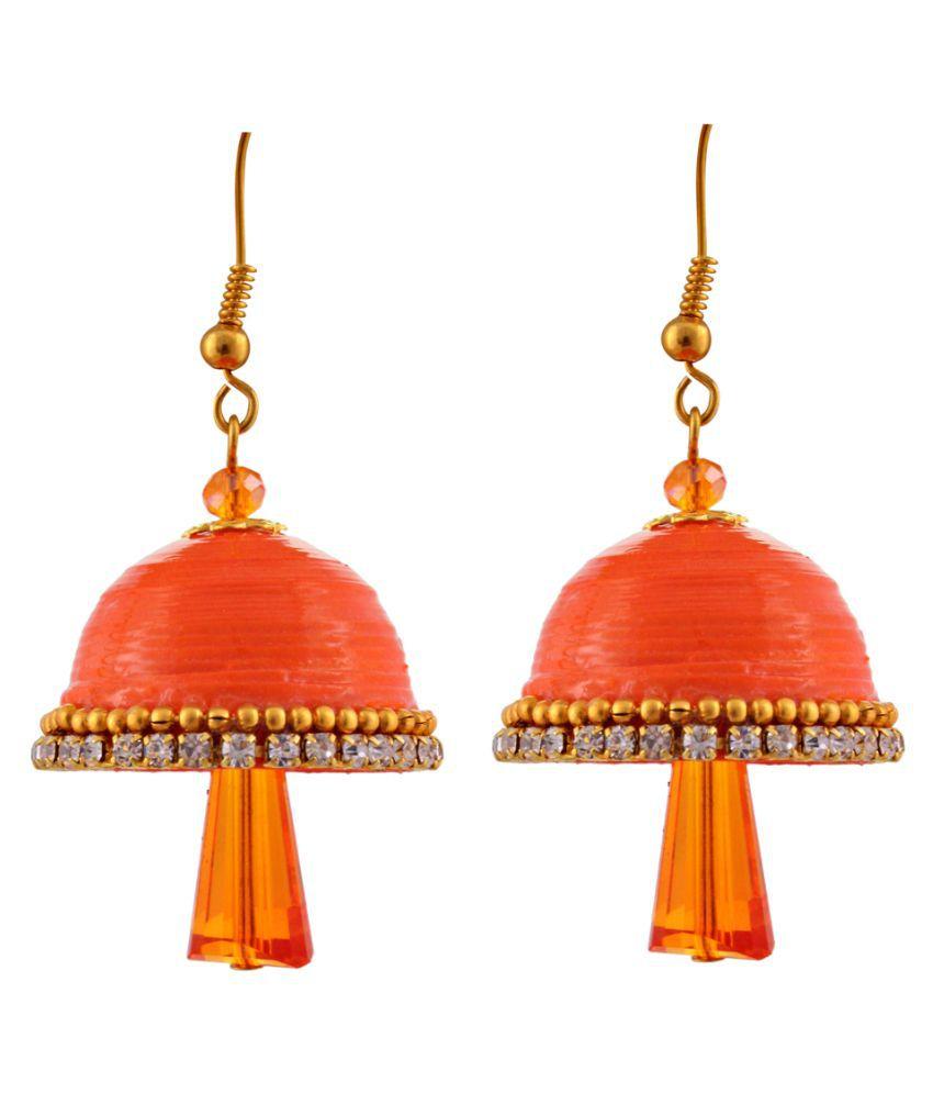 Little Jaipur Beads Beads Studded Orange Coloured Earrings