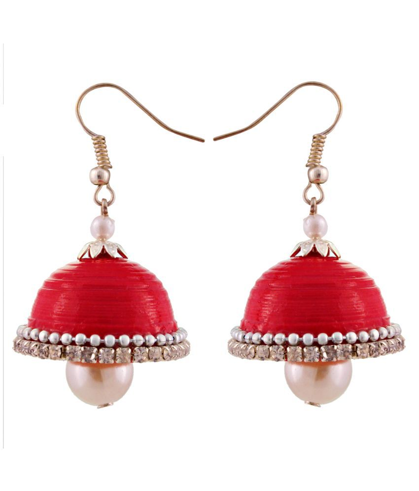 Little Jaipur Beads Beads Studded Red Coloured Earrings