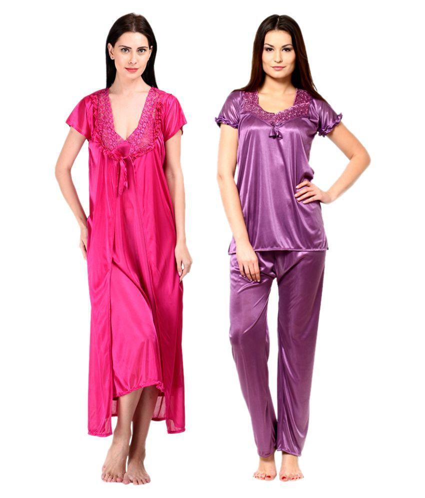 Rakshita's Collection Multi Color Satin Nightsuit Sets