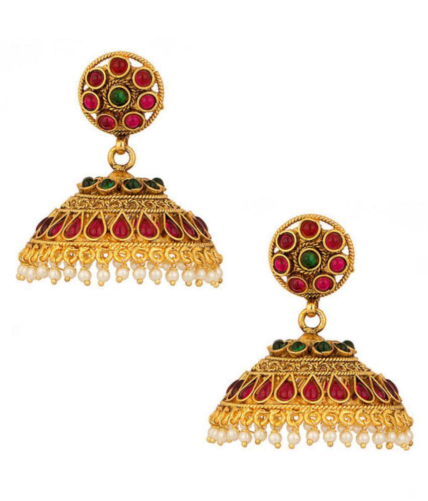 D&D Alloy Silver Plating Studded Golden Coloured Earrings