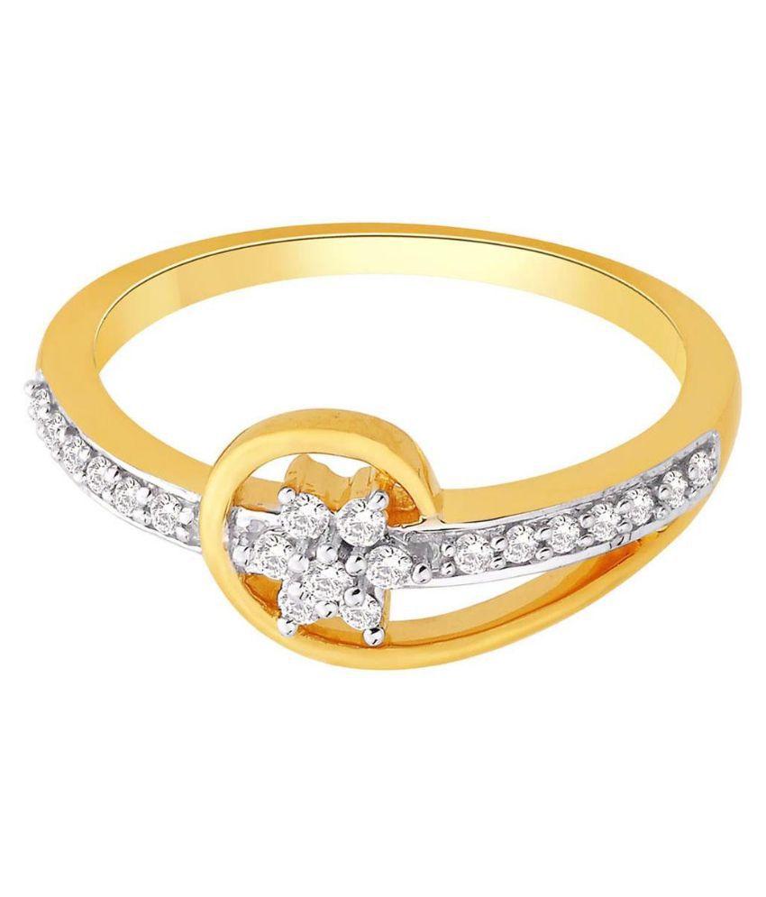 Rivaaz 18Kt BIS Hallmarked Yellow Gold Cubic zirconia Ring