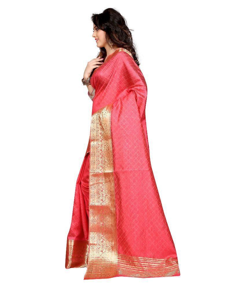 Greenvilla Designs Pink Art Silk Saree