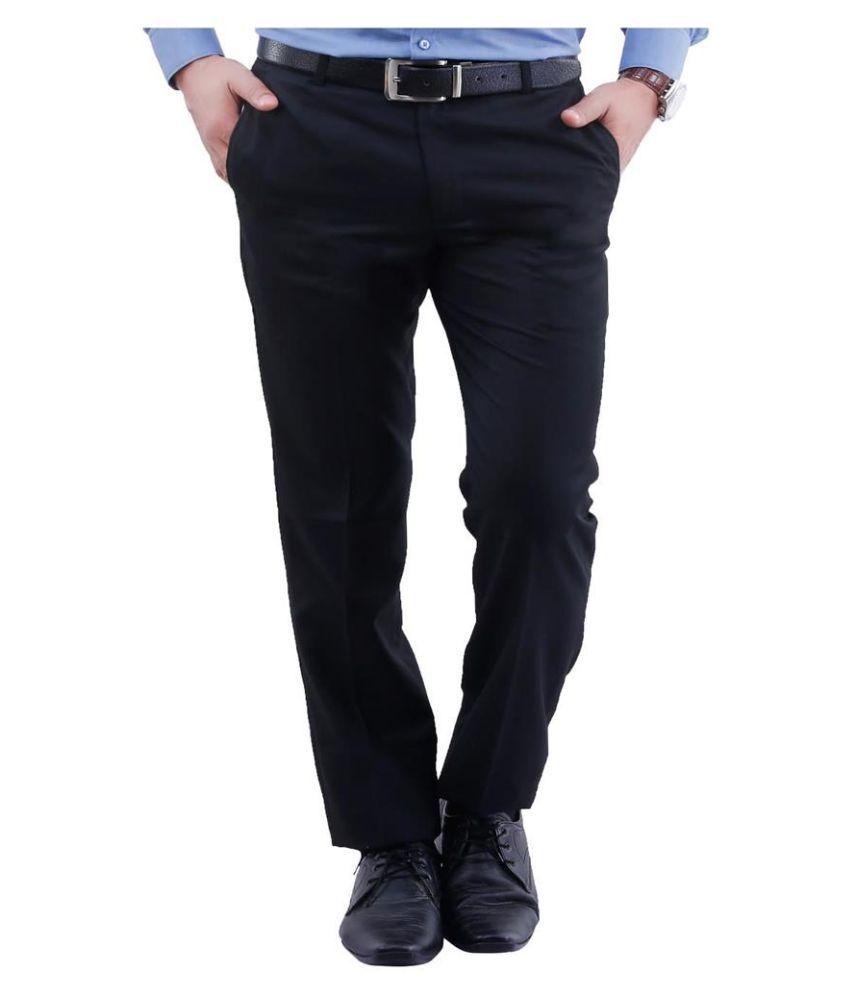 La Mode Black Regular Fit Chinos