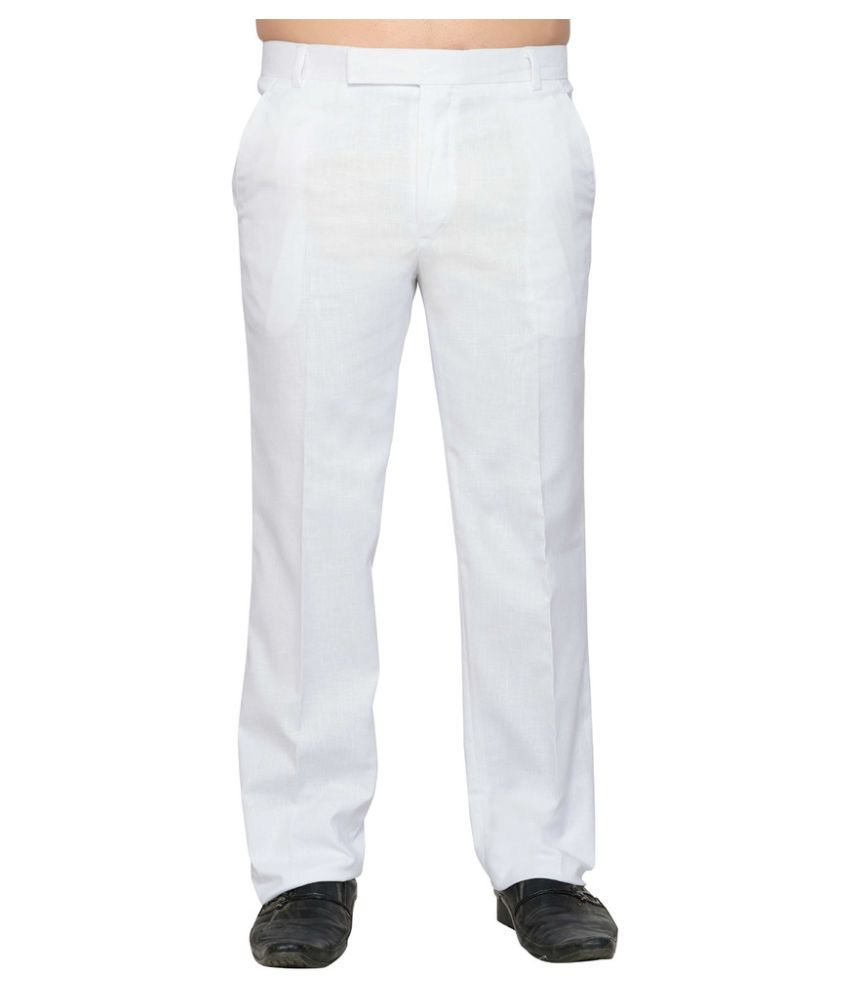 Lee Marc White Regular Fit Flat Trousers