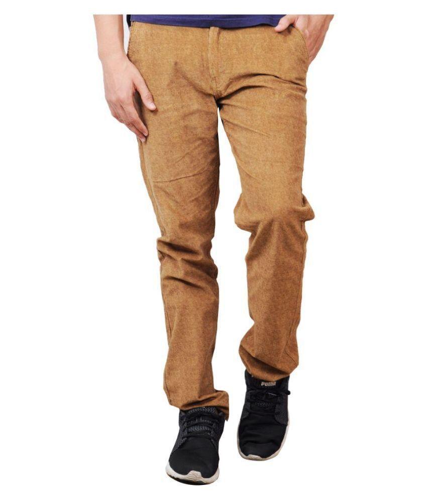 Pazel Beige Slim Fit Flat Trousers