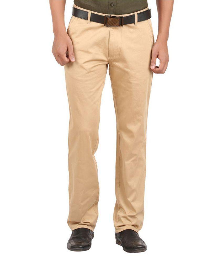 GM Fashions Beige Regular Fit Flat Trousers