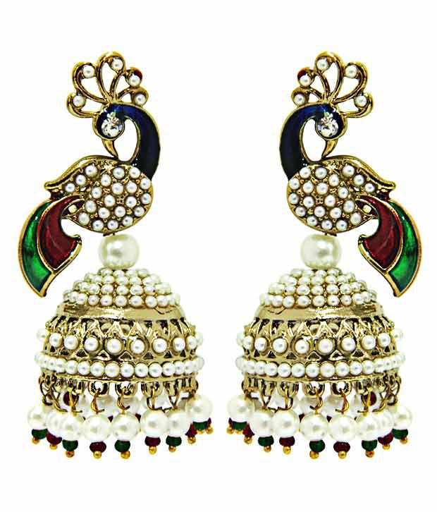 Peora Alloy Studded Multi Coloured Earrings