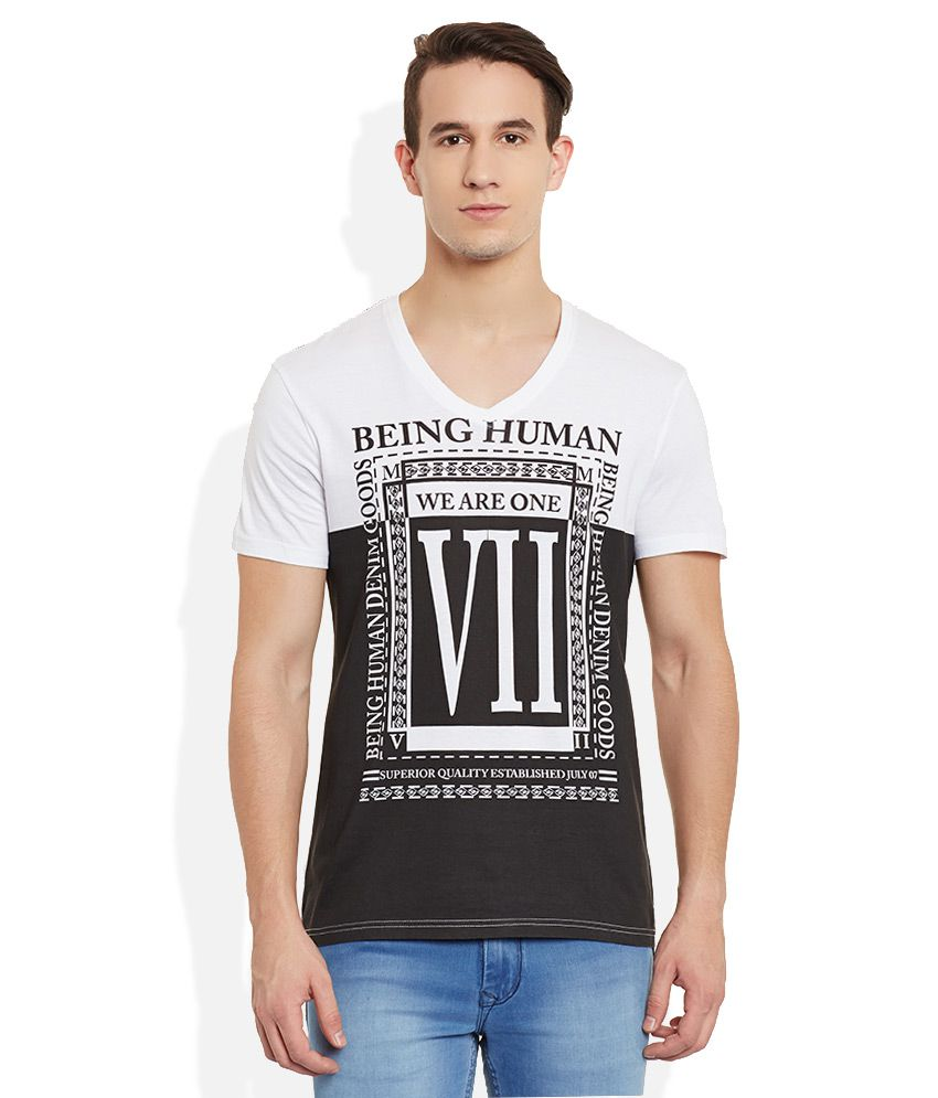 Being Human White V-Neck T Shirt