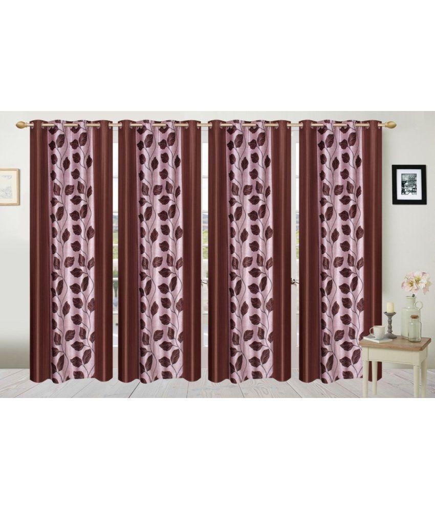 Fresh From Loom Set of 4 Window Eyelet Curtain Printed Brown