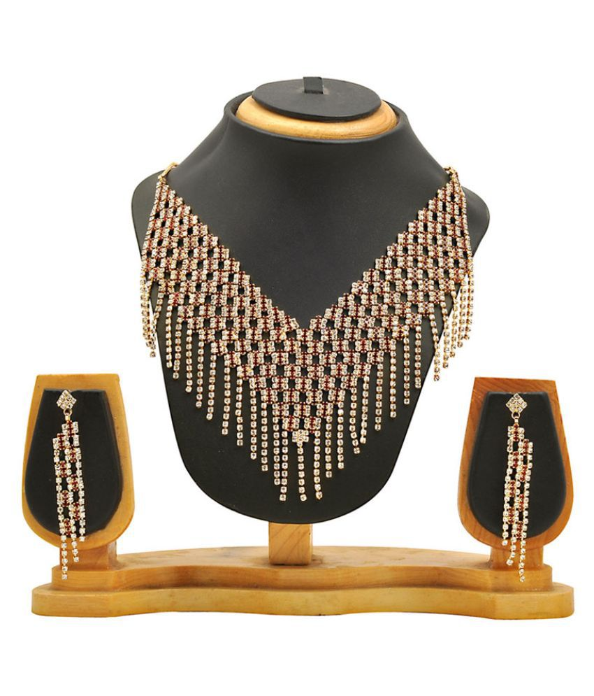 Hawai Alloy Studded Gold Coloured Necklaces Set