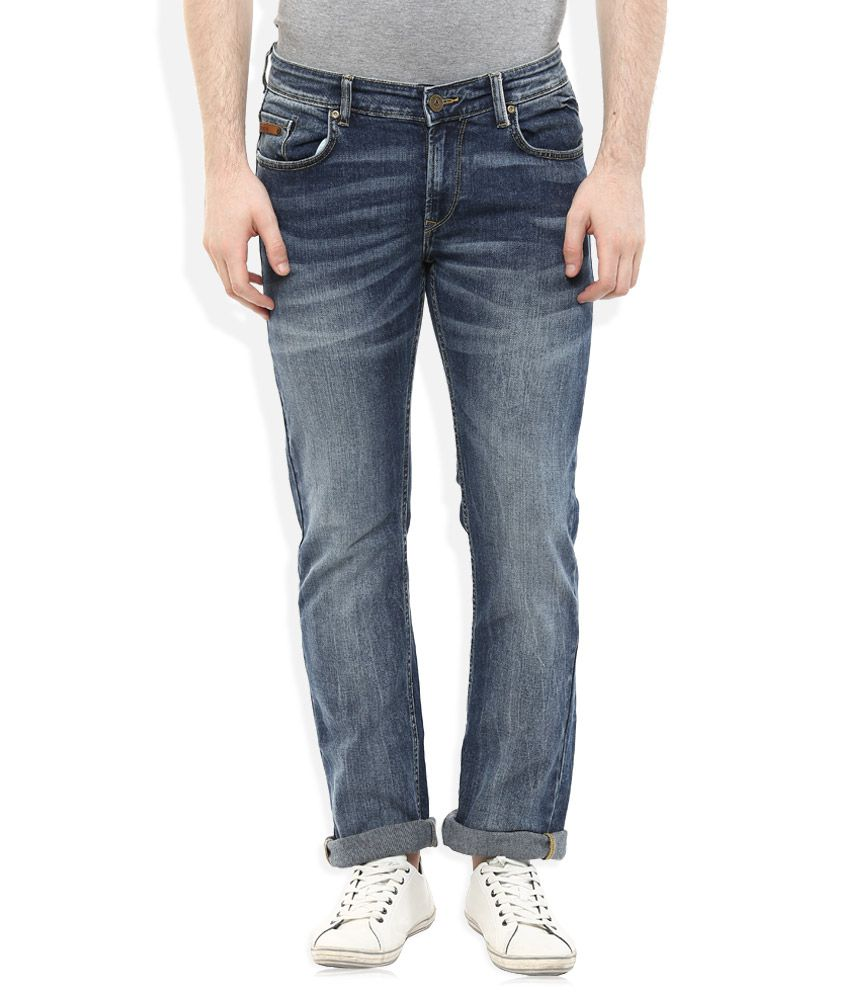 Spykar Blue Regular Fit Faded Jeans