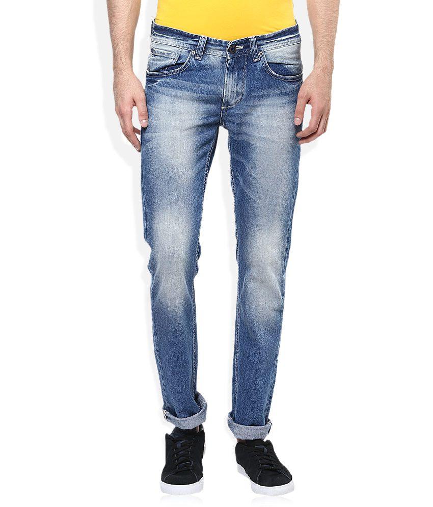 Spykar Blue Skinny Fit Faded Jeans