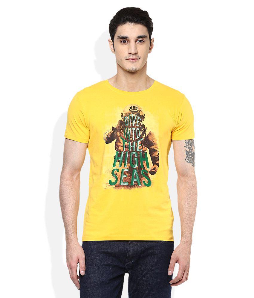 Spykar Yellow Round Neck Half Sleeves Printed T-Shirt