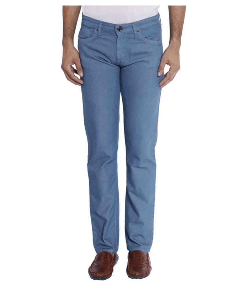 Park Avenue Blue Regular Fit Solid Jeans