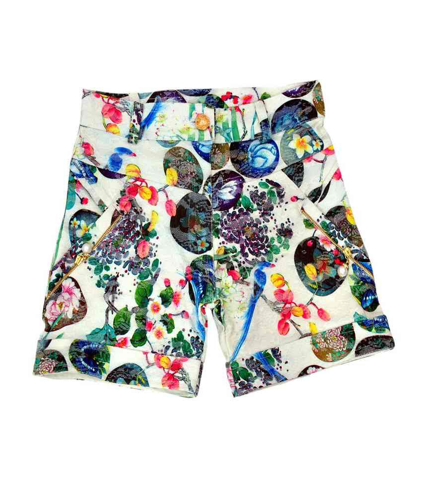 Titrit White Cotton Printed Shorts for Girls