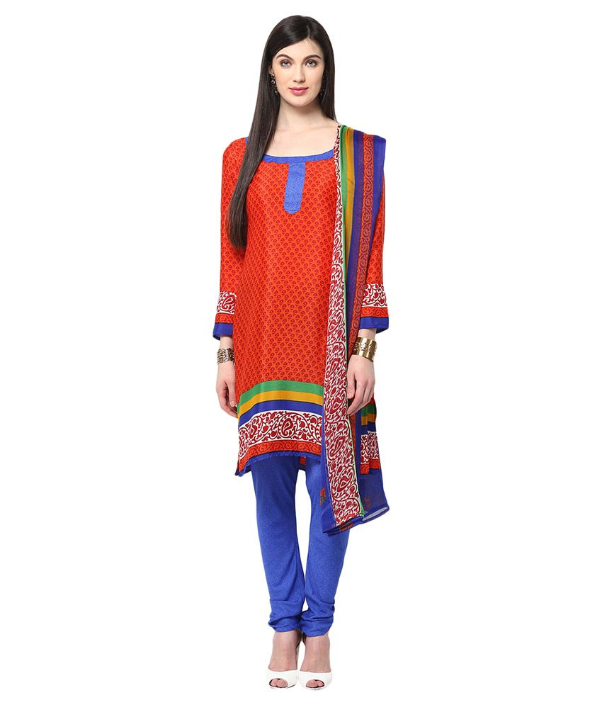 Yepme Red Blended Straight Fit Salwar Suit