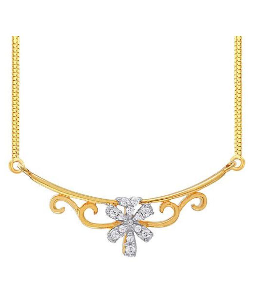 Rivaaz 18Kt BIS Hallmarked Gold Cubic Zirconia Necklace