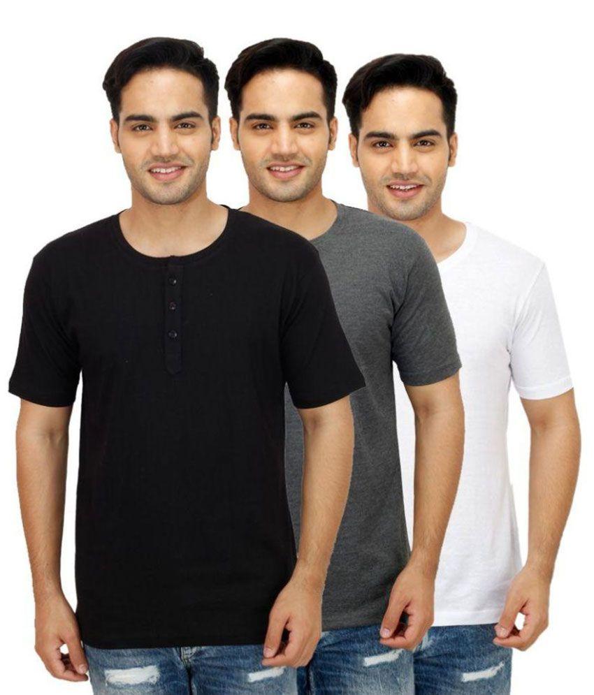 Sanvi Traders Multi Henley T Shirt Pack of 3