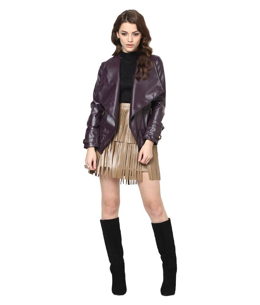 Leather jacket yepme -  Yepme Brown Pu Leather Quiltted Jackets