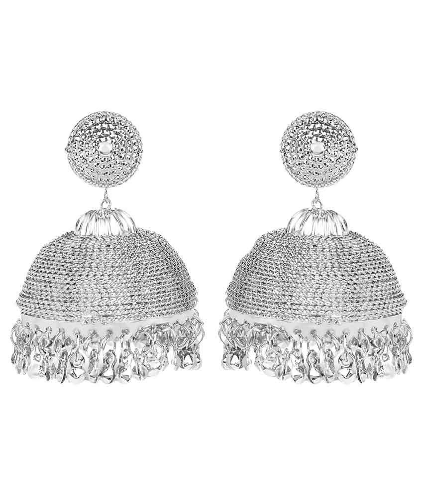 Johareez Alloy Studded Silver Coloured Earrings