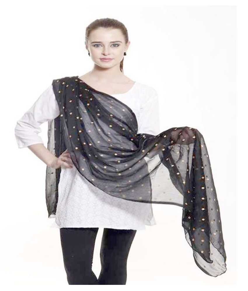 Aaanimation Black Art Silk Digital Printed Dupattas