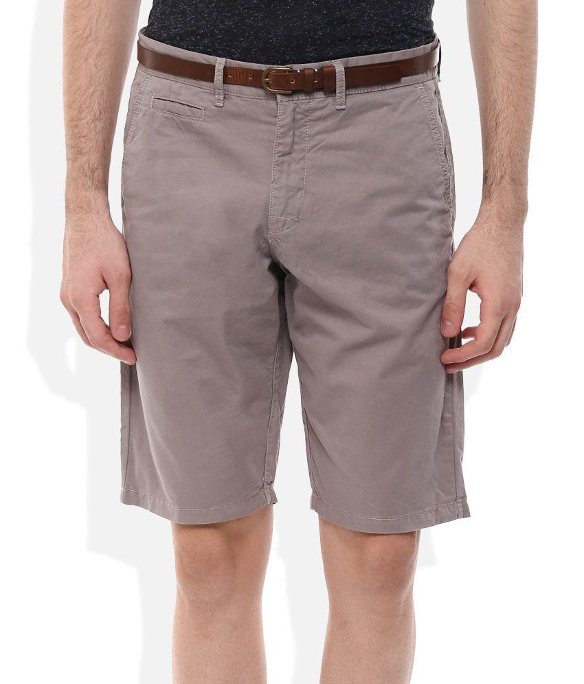 Celio Grey Cotton Shorts