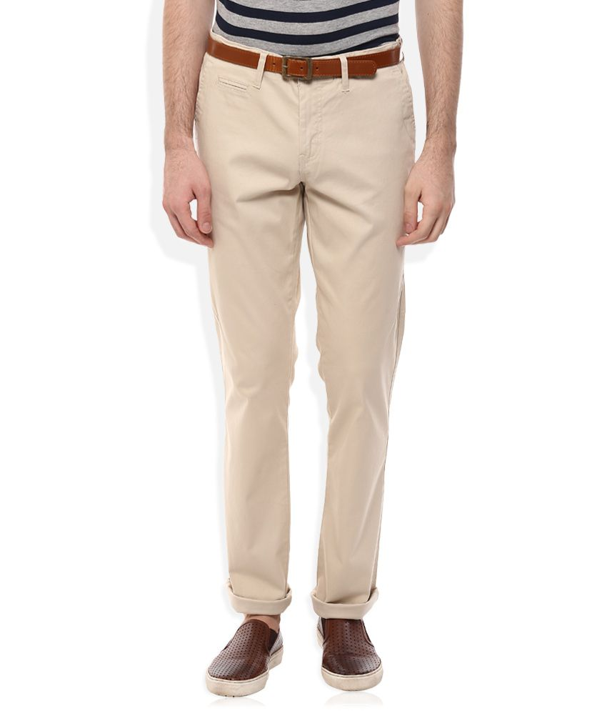 Celio Beige Regular Fit Trousers