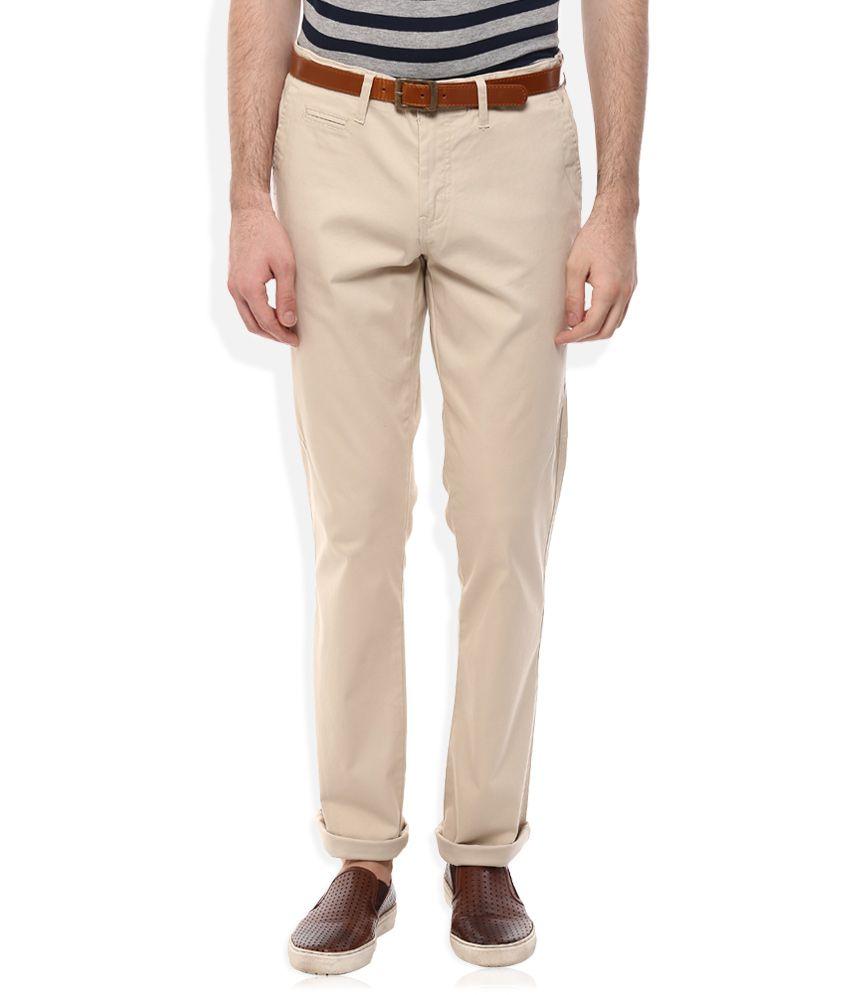 Celio Beige Regular Fit Trousers