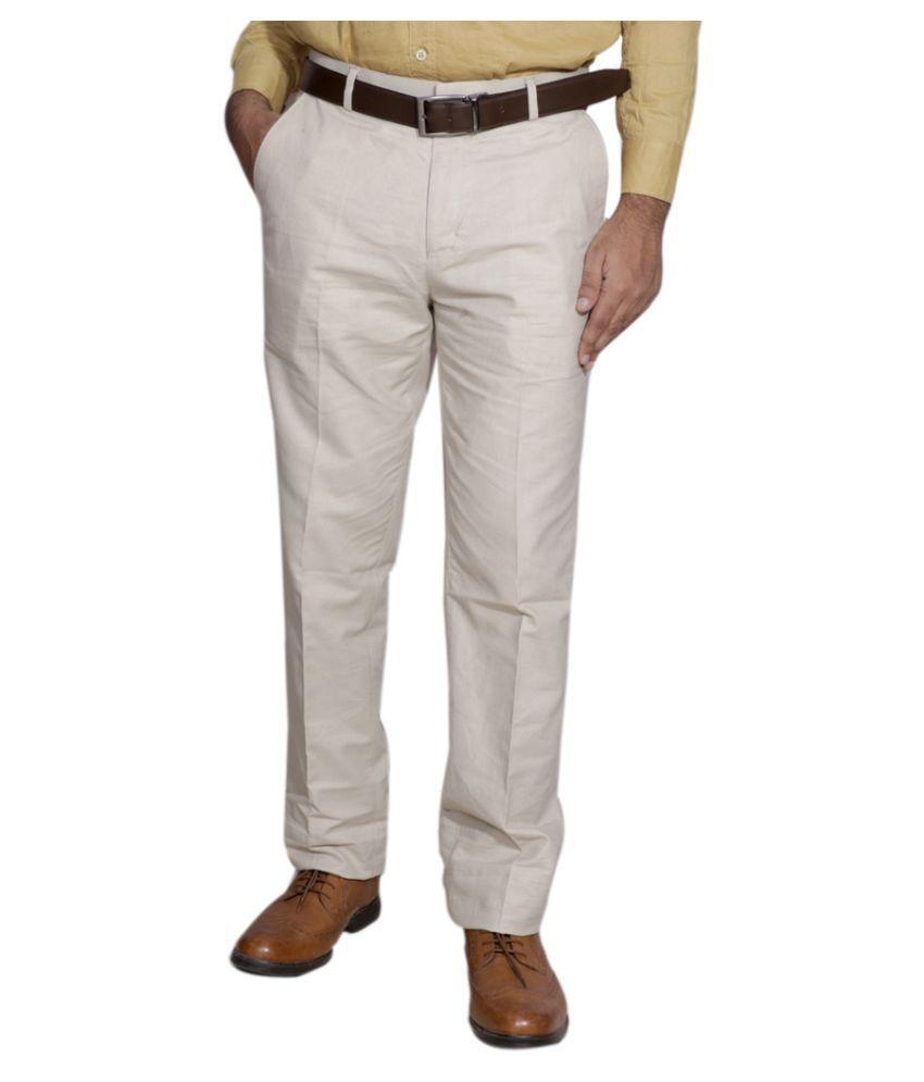 IndiWeaves Beige Regular Fit Pleated Trousers